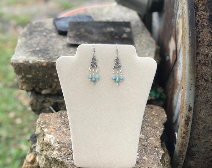 "2"" Drop SS Chandelier Earrings with Aquamarine Amazonite"