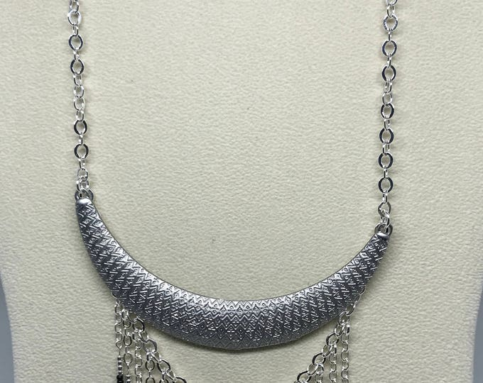 "18"" Silver Crescent Necklace with 4"" Dangle"