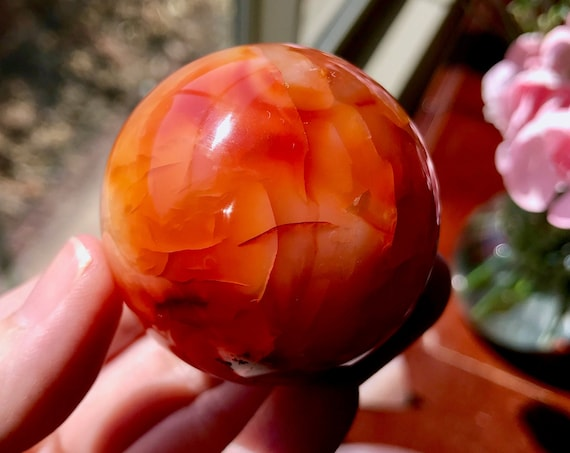 Gorgeous Carnelian Sphere (45mm) - Madagascar | Passion Energy | Enlivening & Uplifting Energy | Root and Sacral Chakras | CAR1