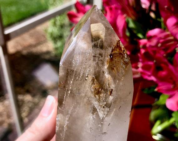 Magnificent RARE Smoky Polished Elestial Skeletal Window Crystal from Madagascar   Smoky Phantom Crystal   Crystal Grid   Rare Quartz   P107