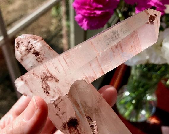 Natural Harlequin Quartz Crystal from Madagascar | Pink Quartz | Hematite Quartz | Cluster Crystal | Time Link | Crystal Keys | 37-E