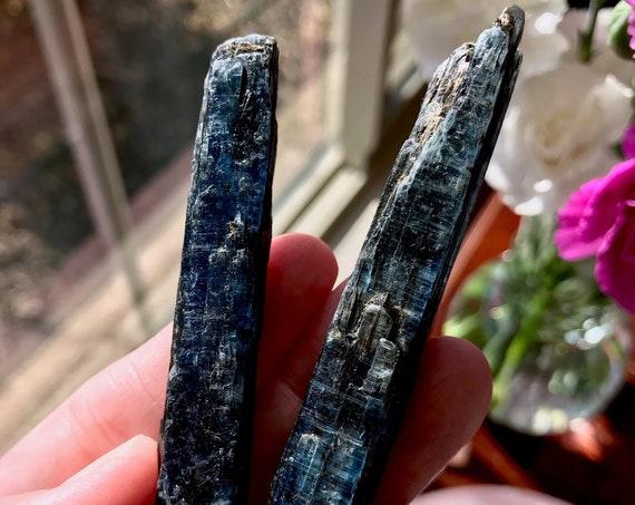 Two (2) Beautiful Indigo Kyanite Blades (48 grams) - Zimbabwe | Translucency | Astral Travel | Chakra Balancing | Third Eye | KY-C