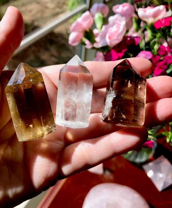 Elegant Trio (3) of Citrine, Smoky and Clear Quartz Crystals | Polished Crystals | Crystal Collection | Unheated and All Natural | TRIO8