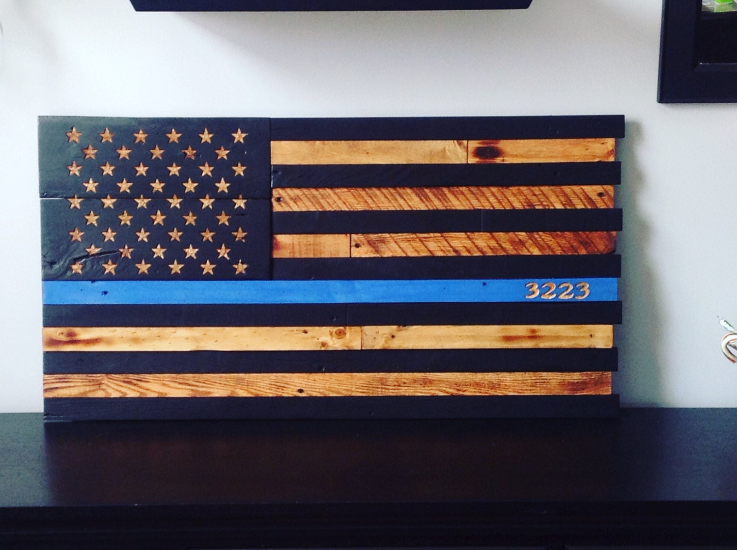 Wooden American Flag Police Thin Blue Line Reclaimed Wood Burned Distressed Hand Carved Stars Subdued Battle 13 X 25