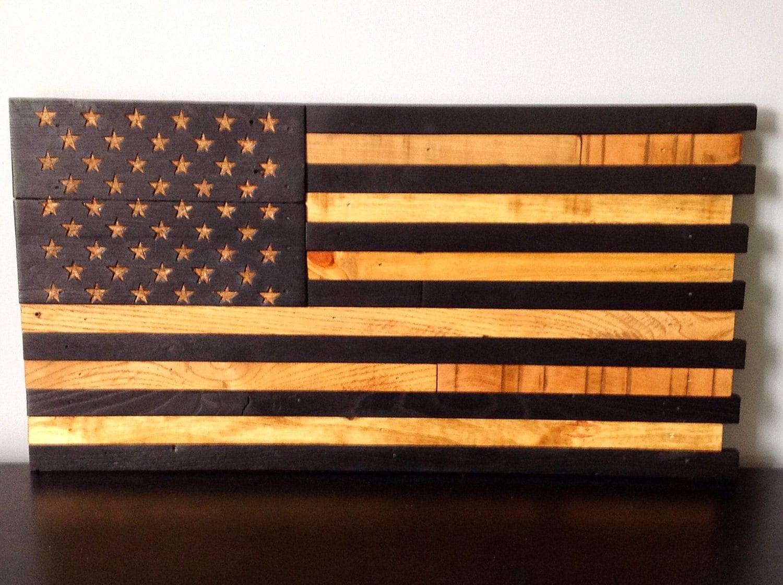 de2ba53707cf Wooden American Flag Reclaimed Wood Burned Distressed Hand Carved Stars  Subdued Battle Flag 13