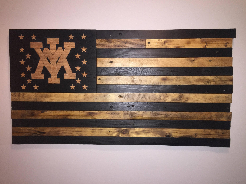 Vmi Wooden American Flag Reclaimed Wood Burned Distressed