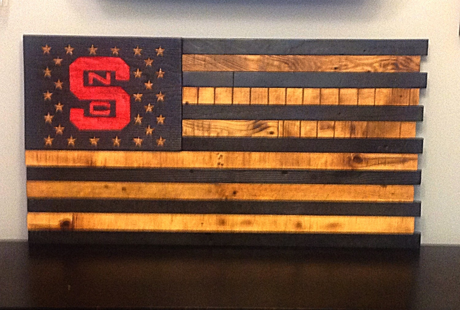 92003d0bdc08 NC State Wooden American Flag Reclaimed Wood Burned Distressed Hand Carved  Stars Subdued Flag 19.5