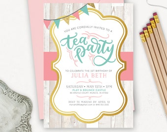 Tea Party Birthday Invitation Printable / Rustic Birthday Invitations for Girls / Pink Teal Gold Glitter Invites