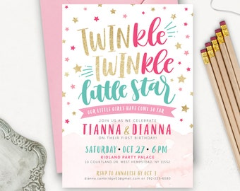 twin birthday invitations twinkle twinkle little star first etsy
