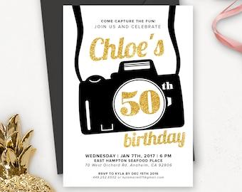 Camera Birthday Party Invitation Printable / Photography Birthday Invitation / Birthday Party Invites