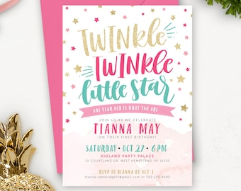 Twinkle Twinkle Little Star First Birthday Invitation Printable /  Twinkle Star Birthday Invitations / Pink Teal Gold Glitter Invites