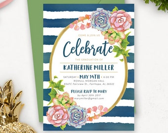 College Graduation Invitation Template / Succulent Graduation Announcement / Graduation Party Invitations Printable