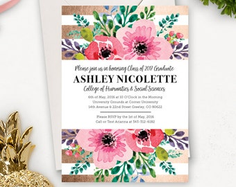 College Graduation Invitation Template / Floral Graduation Announcement / Graduation Party Invitations Printable