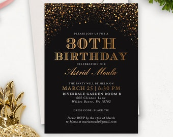 30th Birthday Invitation for Her / Printable Birthday Invitations for Women / Surprise Birthday Invitations