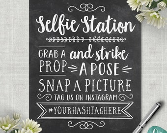 Chalkboard Selfie Station Sign / Wedding Photo Booth Sign / Instagram Wedding Sign Printable Wedding Photo Props / Wedding Printable Signs
