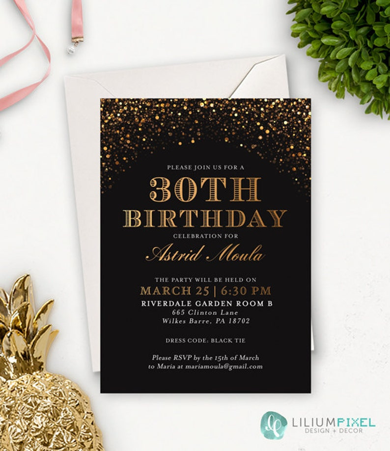 30th Birthday Invitation For Her Printable