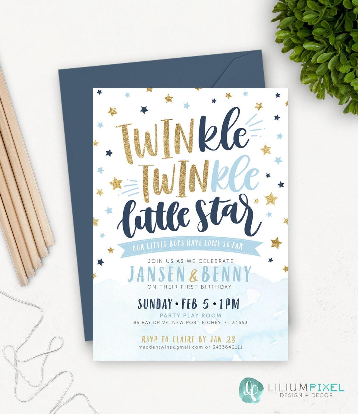 Twin Birthday Invitations / Twinkle Twinkle Little Star First | Etsy