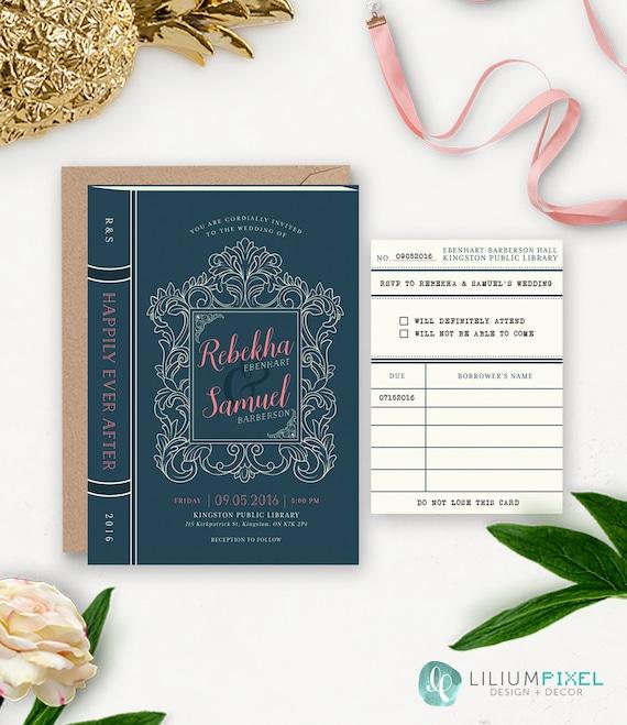 Library Wedding Invitation Printable Story Book Wedding Etsy