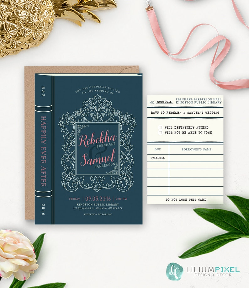 photo relating to Etsy Wedding Invitations Printable titled Library Wedding ceremony Invitation Printable / Tale E-book Marriage Suite / Reserve Themed Marriage / Basic Rustic Printable Marriage Invitation Down load