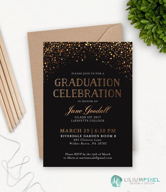 college graduation invitation template grad party invites etsy