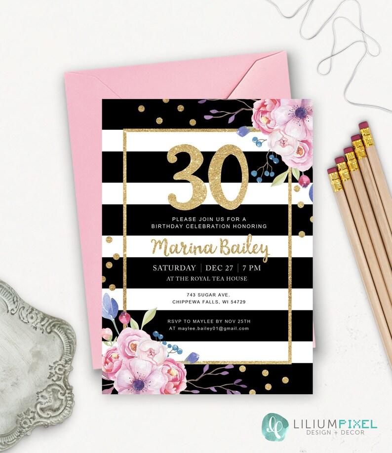 30th Birthday Invitation Printable Striped Invitations For Women Gold Glitter Party Invites