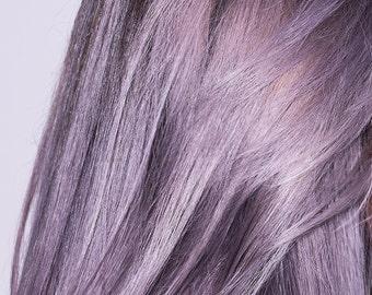 Remy Human Hair Extension Clip-in Streak - Grey/Lavender Double & Single Drawn Brazilian hair