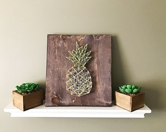 Pineapple sign, pineapple kitchen decor, pineapple string art, tropical decor, pineapple wood sign, rustic home decor, farmhouse decor