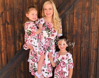 9a184bd2a919 Mommy and Me Outfit | White Floral Matching Dress | Mother Daughter  Matching Dress | Mommy and Me Dress | Family Matching Outfits