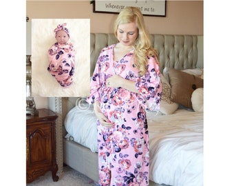 0fd2826528f9a 4 PC Set - Pink/Purple Floral Robe and Night Gown Set - Robe, Nightgown and  Swaddle Blanket Set - Nursing Robe and Nightgown - Hospital Robe