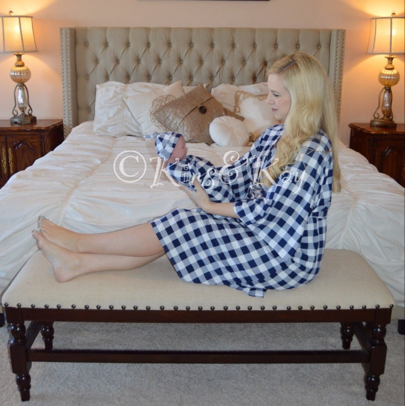 Mommy And Me Coming Home Outfit Mommy and Me Matching BlueWhite Plaid Kimono Robe and Swaddle Plaid Swaddle Blanket Baby Shower Gift