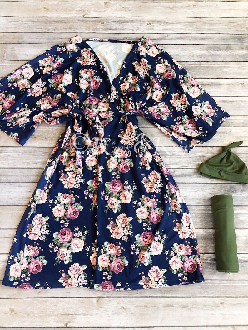 ccff79d5932b7 Mommy and Me Matching Navy Floral Kimono Robe and Swaddle   Etsy