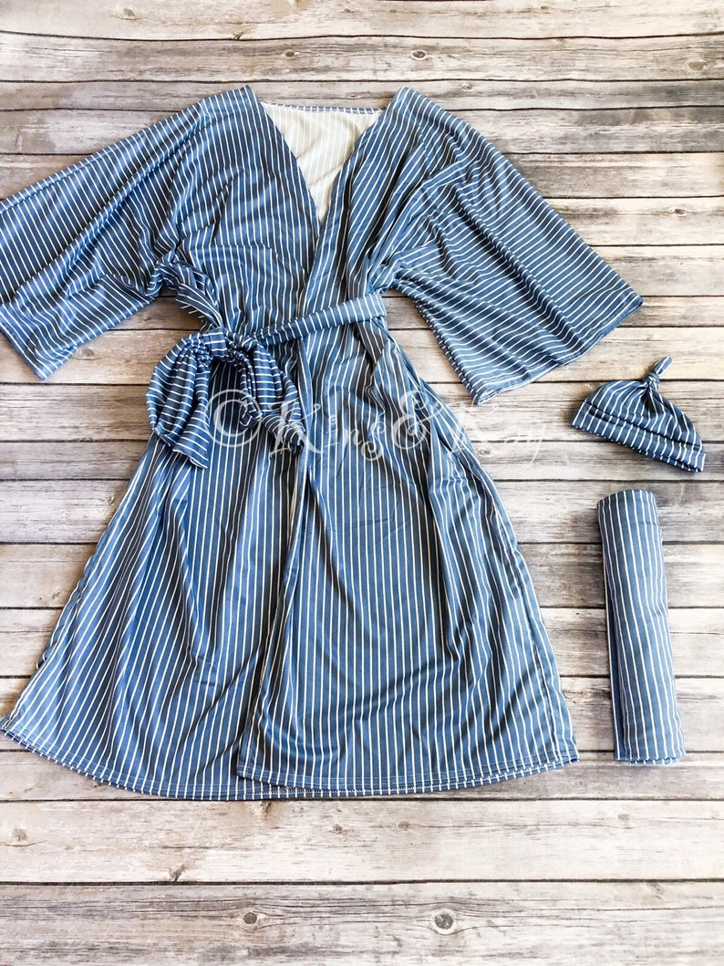 Striped Swaddle Blanket Mommy And Me Coming Home Outfit Baby Shower Gift Mommy and Me Matching BlueWhite Stripe Kimono Robe and Swaddle