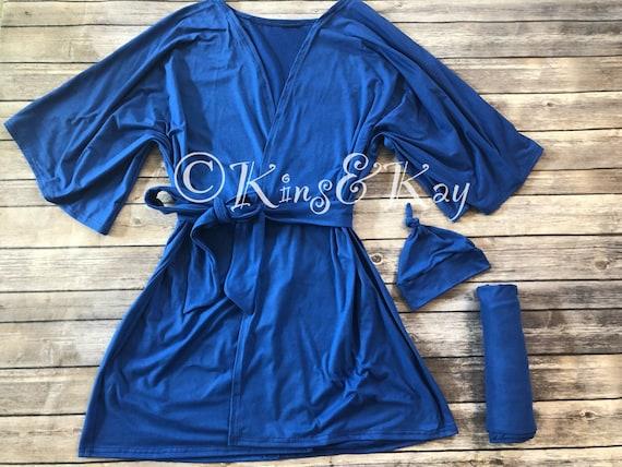 Matching Royal Blue Kimono Robe and Swaddle Blanket Baby