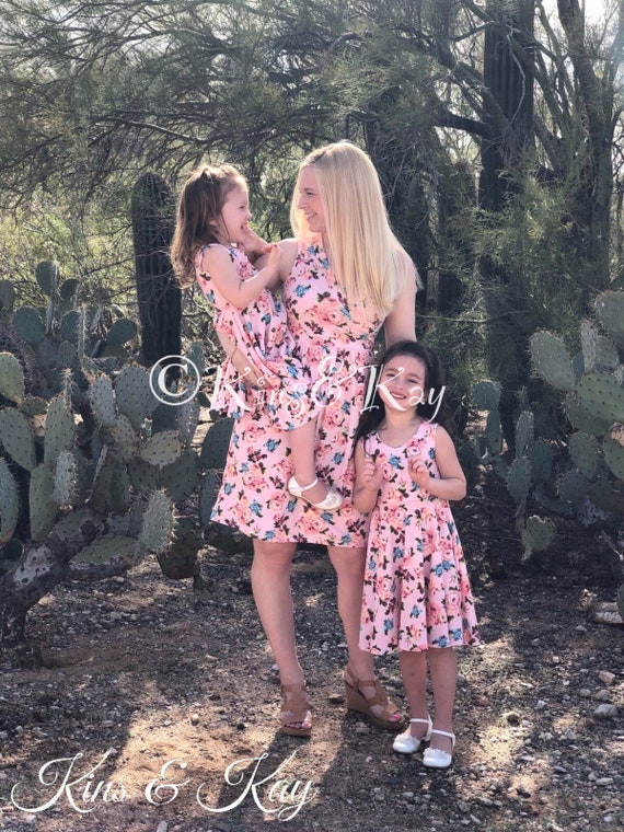 f8d98d3d037b2d Mother Daughter Matching Dress Mommy and Me Outfits Pink | Etsy