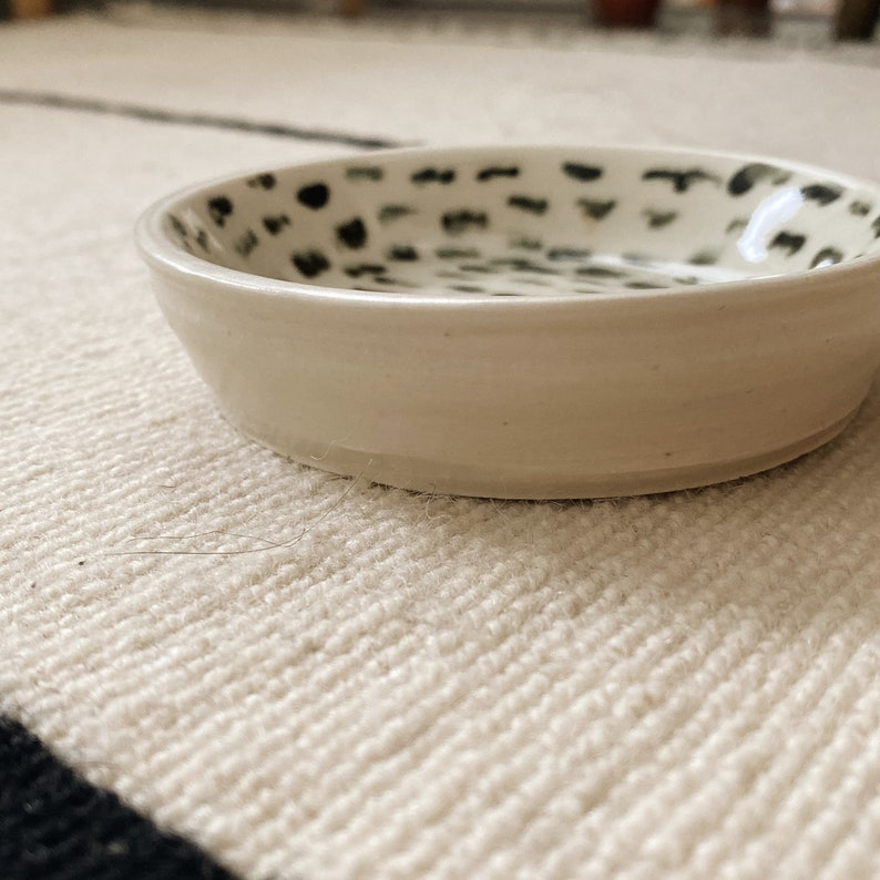 Jewelry Dish  Abstract Dot Art  Handmade Ceramic