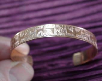 Copper Egyptian Style Cuff Open Back Braclet CONTEMPORARY Mod Thin