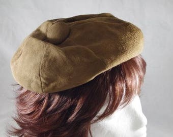 Womens Vintage 1960'S  Brown Suede Like Hat Beret Beanie Size M