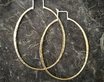 Big Hoops Hammered Brass Hoops Hammered Silver Hoops Bohemian Hoops Boho Hoops Oval Hoop Earrings Bling Hoops Gold Hoop Earrings Brass Hoops