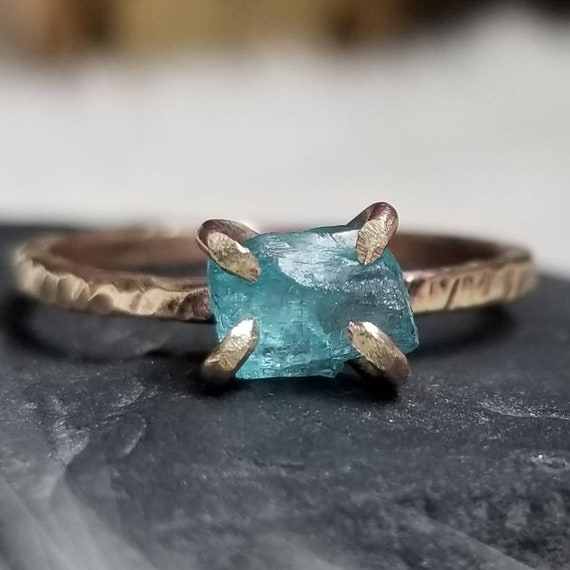 Sterling Silver Rough Set Apatite Crystal Ring