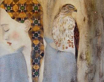 Surrender | Hawk painting | inspiring art | hawk art | woman and hawk | spirit animal | inspirational gift | inspirational wall art | Giclée