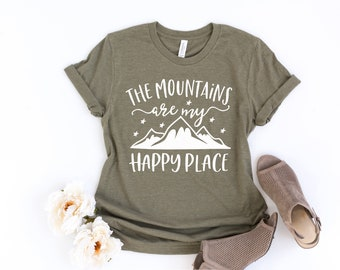 51d46a26 The mountains are my happy place - Bella Canvas Unisex Tee, Crew Neck - mountains  shirt, ski shirt, mountain lover, camping shirt, travel