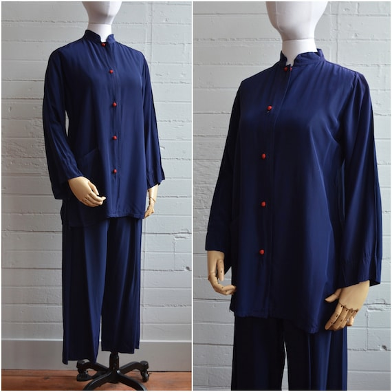 1940s 40s Cold Rayon Navy Lounge Set Pants and Top