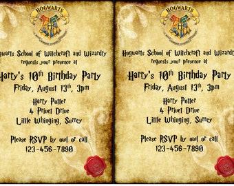 Harry Potter-inspired EDITABLE Birthday Invitation, Envelope, font zip file for Instant Download