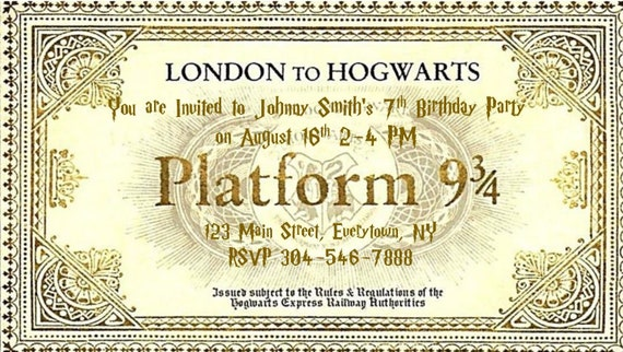 picture relating to Hogwarts Express Printable called Harry Potter-influenced EDITABLE Hogwarts Specific, System 9 3/4 ticket with envelope for birthdays, excursions, and so on. Cost-free HP font zip obtain!