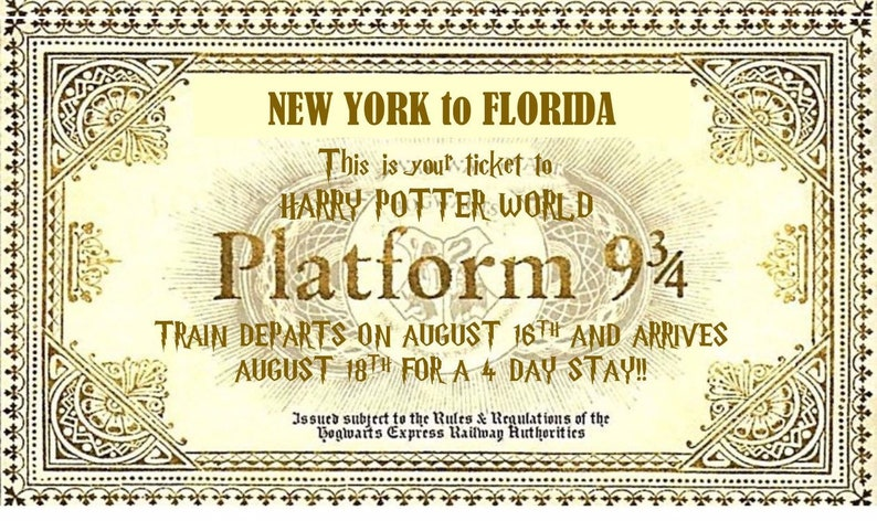 graphic regarding Hogwarts Express Printable known as Customise your spots- Harry Potter-influenced EDITABLE Hogwarts Specific, System 9 3/4 ticket/envelope; birthday, vacation; HP font add
