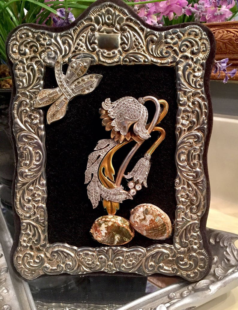 shells springtime flower brooch Jewelry framed art vintage rhinestone dragonfly Easter gift