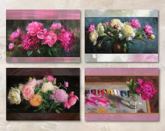 """Set of 8 A6 (5x7"""") Floral Peony Blank Greeting Cards with White Envelopes Featuring the Oil Paintings of Anna Rose Bain"""