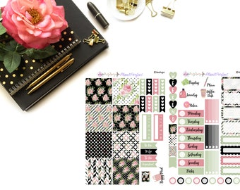 Black Floral Kit// MINI HP Weekly Kit// 2 sheets of planner stickers