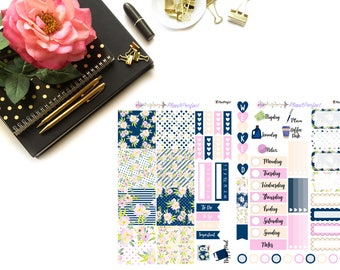 Blue Floral Kit// MINI HP Weekly Kit// 2 sheets of planner stickers