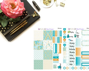 Summer Aztec Kit// MINI HP Weekly Kit// 2 sheets of planner stickers